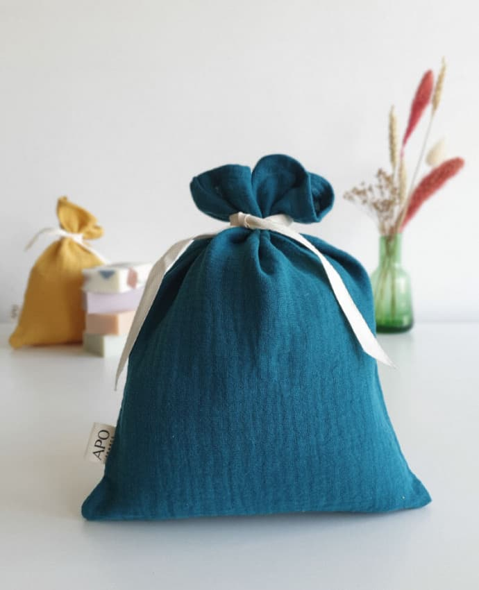 pochon cadeau réutilisable gaze de coton