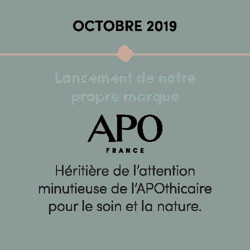 L'histoire d'APO : Lancement de la marque APO, marque pour le soin et la nature