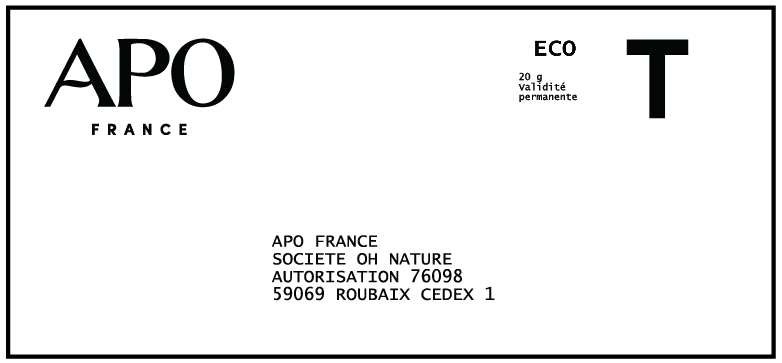 Etiquette retour APO x TerraCycle